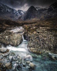 Fairy Pools II (Vemsteroo) Tags: longexposure blue mountains skye nature rock canon wonder landscape flow outdoors scotland waterfall highlands isleofskye natural hiking foreboding pano dramatic clear 5d 24mm cuillins epic tse hebrides glacial mkiii tiltshift beautyinnature fairypools visitscotland leefilters littlestopper