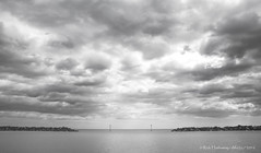 Markers (Rick Hathaway - rhfo2o) Tags: sea sky blackandwhite bw beach clouds canon mono seaside westsussex elmer bognorregis seadefences elmersands canoneos7d rhfo2o