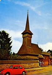Romania - Bogdan Vod [002] - 1982 - front (Ye-Di) Tags: church vw volkswagen photographer postcard beetle kirche communism romania socialism kfer retromania ansichtskarte bogr thelongroad buburuz analoguephotoshop vstamate bogdanvod izakonyha