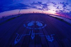 Osanbashi of dawn (usotuki) Tags: sunrise airplane dawn smoke landing      yokohamabaybridge     portofyokohama  osanbashiyokohamainternationalpassengerterminal pentaxk7 keihinindustrialsash smcpentaxdafisheye1017mmf3545if