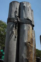 Moored (lefeber) Tags: wood city nyc newyorkcity urban newyork dock waterfront rope posts moorings