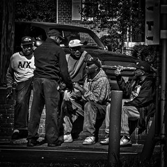 """""""The Brothers Gathering On The Street For Afternoon Talkfest"""", Congress Heights, Washington, DC (Gerald L. Campbell) Tags: street urban bw digital washingtondc blackwhite dc community citylife streetphotography squareformat spirituality aloneness injustice blackmale socialdocumentary indifference alienation urbanphotography inequality historicanacostia spiritualindifference canonsx50hs socialatomism"""
