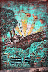 NEW YORK - Adrift (LUAL audiovisual) Tags: street usa streetart newyork muro art wall graffiti calle eyes mural waves ship aquamarine adrift littleitaly sinking greenish cursumperficio beaustaton