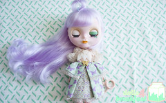 LADY THE PASTEL (LAT_te) Tags: green japan lady vintage butterfly big eyes doll acrylic hand dress purple handmade pastel violet fake style carving retro clothes made cotton chan romantic blythe etsy custom tbl takara licca laces tomy adoption hasbro cwc repaint aliexpress dolls4breakfast
