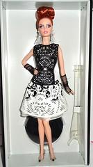 The New Girl (Dia 777) Tags: dolls barbie collection lara blackandwhitecollection barbiecollection barbiefanclub redheadbarbie platinumlabel dia777 laserleatherette