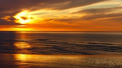 Beyond space and time (KerKaya) Tags: leica light sunset sea sky sun seascape france beach nature water colors beautiful beauty clouds reflections landscape lumix golden coast waves time panasonic shore serenity beyond lowtide universe crpuscule normandy fz200 kerkaya