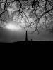 Wychbury Hill (sabphotos69) Tags: leica light shadow blackandwhite monument monochrome sunrise walking haunted hills spooky obelisk horror bella ghostly stourbridge hagley digilux vintagedigital blackcountry lordcobham wychbury hagleyhall
