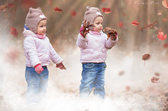 Twins (foto.evines) Tags: girls portrait leaves fog kids canon children fun outdoors kid twins toddler photographer child play toddlers 135l outdoorportrait evinesczmoody stawarczykova evinesfoto