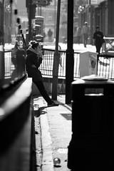 Break time (erikinlondon) Tags: woman london monochrome break candid streetphotography smoking backlit resting smoker bnw