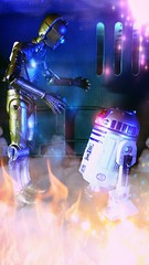 Yes R2 I think we should head away from the flames (custombase) Tags: starwars r2d2 c3po 6inch blackseries revoltech