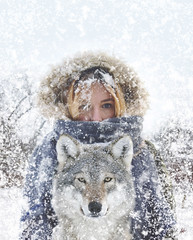 Alone together (veldreannija) Tags: winter wild woman selfportrait snow storm cold art nature girl animal photoshop photography nikon wolf frost artist day alone fineart north together adobe lone wilderness fineartphotography annija nikond5300 annijaveldre