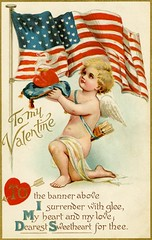 I Surrender My Heart and My Love for Thee (Alan Mays) Tags: ephemera postcards greetingcards greetings cards valentines paper printed valentinesday saintvalentinesday february14 holidays hearts love cupid cupids putti putto cherubs wings feathers arrows quivers kneeling steaming offering patriotic stars stripes flags surrender surrendering poems poetry rhymes red white blue gold borders illustrations strange unusual 1911 1910s antique old vintage typefaces type typography fonts