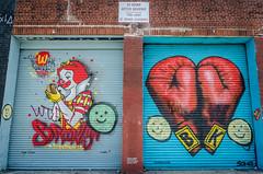 """The Wack Donald's Project"" - Mr. OneTeas  &  ""Gloves love"" - Solus (Mathilde Guerin) Tags: streetart bushwick graffiti collective street art bushwickcollective ny nyc newyork newyorkcity mural brooklyn bklyn bk oneteas mroneteas solus donald anthonyalberti anthony alberti solusstreetart nikon nikkor d5100 18105 18105mm usa us 2015 states united america urbanart new york city outdoor modernart artwork"