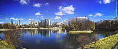 Baneasa (Romulus Anghel) Tags: city blue light panorama lake water colors clouds buildings landscape photography lights cityscape earth lg romania bucharest bucuresti nori