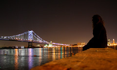 Bridge thing (thesilencewillsetusfree) Tags: city bridge winter cold love philadelphia colors girl river lights franklin long exposure ben jacket philly delaware peacoat brotherly crhsitmas