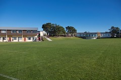 Rangitoto College facilities (field, maths block and Rangi Centre)