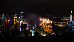 Hong Kong Fire Works (dltaylorjr) Tags: china city party mountain building skyline hongkong monkey harbor dragon fireworks hiking year chinese victoria celebration climbing cny nightlife sparks kowloon icc sparkling habour yearofmonkey