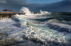 Force of Nature (ScorpioOnSUP) Tags: ocean california sea sky cold beach wet clouds rocks waves afternoon wind january windy foam chilly southerncalifornia gusty oceanview sanpedro breakwater gust elnino splashes breakingwaves 2016 angelsgate oceanbreeze graniteblocks tallwaves cabrillobeachpier