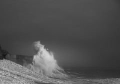 Rushing (Tim Bow Photography) Tags: light lighthouse storm nature water weather wales dark landscape pier dangerous rocks waves power impact british welsh splash swell exciting porthcawl blackandwhitephotography thrilling stormwaves porthcawlpier timboss81 timbowphotography lowtideporthcawlstorms