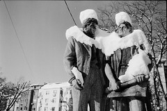 Comrades in white (vladixp) Tags: bw snow film statue 35mm negative 35mmfilm scanned k2 flektogon 12 comrade praktica engineer 20c filmscan yellowfilter foma fomapan100 socialistrealism bwfilm filmphotography fomapan id11 mtl5 snowhat 14min   3600dpi pf7250u