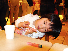 Little Girl in Cafeteria :  (Dakiny) Tags: street city family portrait people woman building 2004 girl station japan architecture landscape spring child sony daughter cybershot nagoya april aichi nakamura nagoyacastle dscf828 nagoyastation meieki jrnagoyacentraltowers