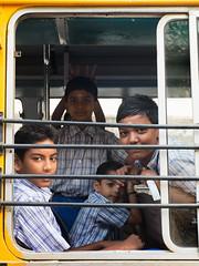 Kids in School van (Karthik Thorali) Tags: streets outdoor weekend streetphotography photowalk fujifilm chennai streetportraits cwc clickers xm1 triplicane 130216 chennaiweekendclickers cwcchennaiweekendclickers 13feb2016 cwc508