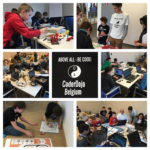 Another @CoderDojoBe in full effect in #mechelen! Fun with Scratch, Arduino, Mindcraft, MindStorms and HTML.
