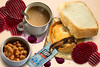 Pie sandwich (outertemple) Tags: food cup stain composite pie bread beans tea beetroot