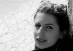 Unknown girl, so beautiful in the sun (patrick_milan) Tags: street portrait people blackandwhite bw white black girl monochrome noir noiretblanc nb rue fille blanc personne streetview gens visage inconnue