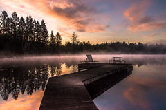 At The Dock (jeanmarie shelton) Tags: morning pink blue trees light sky mist lake nature colors fog architecture clouds sunrise reflections landscape dock nikon shadows l serene jeanmarie jeanmarieshelton