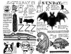 Another glorious weekend (Don Moyer) Tags: fish moleskine ink notebook weekend bat paisley moyer brushpen donmoyer dtrawing
