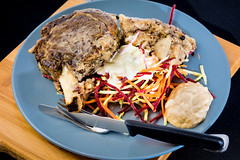 Rib eye steak with coleslaw and quinoa onion (garydlum) Tags: beef quinoa canberra onion horseradish coleslaw