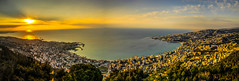 Jounieh Bay At Sunset, Lebanon (panoramic,HDR) (Paul Saad) Tags: blue sunset sea sky lebanon sun mountain color colour beach clouds landscape dawn amazing view outdoor dusk pano hill peak panoramic hq beirut hdr adma zouk harissa jounieh