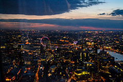 THE CITY (ZAC DES) Tags: life street city sunset summer sky black building london eye up thames night buildings river dark high busy views april shard bustling lgihts