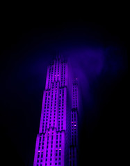 GE Building - NYC (Autumn Schutt) Tags: city nyc newyorkcity sky newyork building fog architecture night clouds dark lights haze purple gebuilding