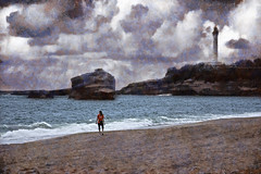 biarritz (antonio-gonzalez) Tags: sea woman lighthouse france beach faro mar mujer rocks solitude outdoor walk playa paseo thinking soledad francia biarritz rocas pensamiento airelibre angovi