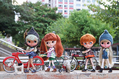Finally........evening!!! Now its cool enough to try some riding........ (Kewty-pie) Tags: bunny scale bike vintage toys photography miniature gnome dolls handmade bicycles blythe 16 custom evie helmets playscale missrabbit dollskingdom littleditzies mariakusznir gingerweasley misscaterpillar