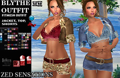 Blythe fm outfit (Zed Sensations) Tags: eve summer urban beach floral fashion spring outfit clothing slim mesh top grunge avatar country hipster jeans jacket bikini secondlife short denim casual shorts sensations isis freya complete belleza zed apparel physique hourglass bolero fitted beachwear slink pulpy fitmesh evemesh