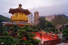 Nouveaux territoires - jardin Nan Lian 5 (luco*) Tags: china new bridge sky clouds garden hongkong pagoda chinese jardin ciel pont nuages chinois nan territories chine lian pagode nouveaux territoires flickraward flickraward5