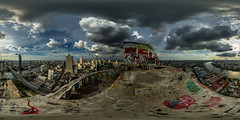 The Ghost Tower (ECHOs by Erik) Tags: travel abandoned graffiti ghost urbanexploration travelphotography amazingview photosphere