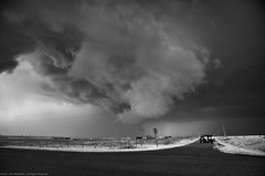 April 10, 2016 - Wall Cloud north of Highway 70, east of Davidson, Oklahoma (SamInDallas) Tags: blackandwhite bw ir infrared 720nm supercellthunderstorm april102016