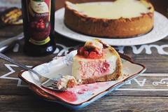 Strawberry cheesecake (olgakasanova) Tags: red food white cheese dessert yummy strawberry rustic cream cheesecake fresh foodporn foodie foodphoto foodstyle
