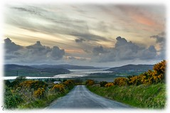 The road to the lough (Eileen (EMC)) Tags: road ireland sunset sky clouds landscape twilight nikon outdoor dusk scenic eire hills hdr donegal ulster hedges photomatix tonemapped photoscape loughswilley d3100 wildatlanticway