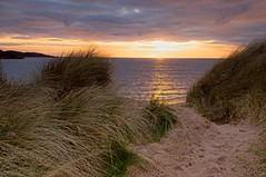 Big Sand Sunset (Mark Illand) Tags: uk travel sunset sea sky holiday seascape west color colour beach clouds landscape photography scotland highlands sand exposure flickr colours outdoor dunes sony alpha tamron minch gairloch shorescape 1750mm sonyalphadslr a580