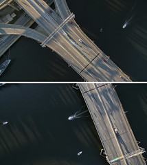 Albany NY (milfodd) Tags: urban ny boat diptych bridges infrastructure april albany hudsonriver roads aerialphotography hdr drone 2016 dji quadcopter phantom3pro