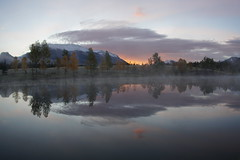 Misty Sunrise at Quarry Lake (ryan.kole32) Tags: travel trees mist lake canada reflection nature water beauty misty forest sunrise landscape rockies outdoors sony alberta rockymountains mirrorimage canmore quarry canadianrockies quarrylake beautyinnature canmorealberta sonya77