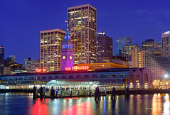 Ferry Building (davidyuweb) Tags: blue light building tower rain ferry golden colorful purple state warriors sfist freey
