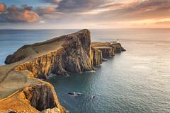 Classic Neist Point (DazaT) Tags: sunset sea sky lighthouse classic rock clouds golden scotland still basalt neistpoint westhighlandsduirinishpeninsulaisleofskye