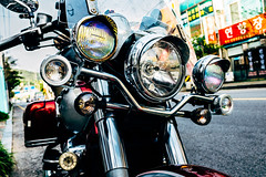 DSCF9425 (koribrus) Tags: road old red bike vintage fuji ride korea headlights motorbike chrome motorcycle vehicle fujifilm mirage parked 23 xs southkorea suncheon xseries jeolla 23mm jeollanamdo x100s koribrus