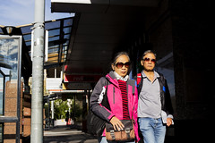 (paralelsuns85) Tags: street city pink people urban man color colour male female canon walking asian outside 50mm women couple colorful bright outdoor expression candid streetphotography australia pedestrian streetscene sidewalk tasmania fixed colourful hobart fullframe unposed canonef50mmf14usm busmall primelens fixedfocallength canon6d